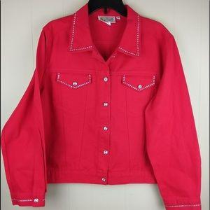 Christine Alexander Red Jean Jacket Bling XL Women